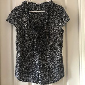 LOFT Black & White Button Up Blouse